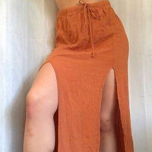 forever 21 burnt orange slit skirt